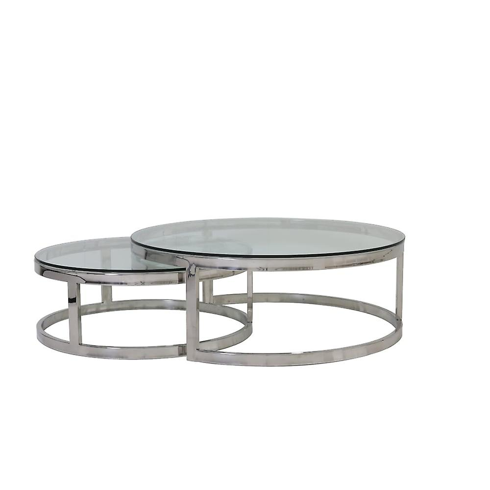 Ø100x35Ø79x29 Nickel Milagro Verre Table Basse 2 Lumièreamp; S De Cm Living rxBedoCW