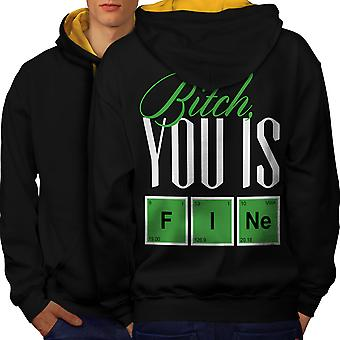 Fine Chemistry Geek Men Black (Gold Hood)Contrast Hoodie Back | Wellcoda
