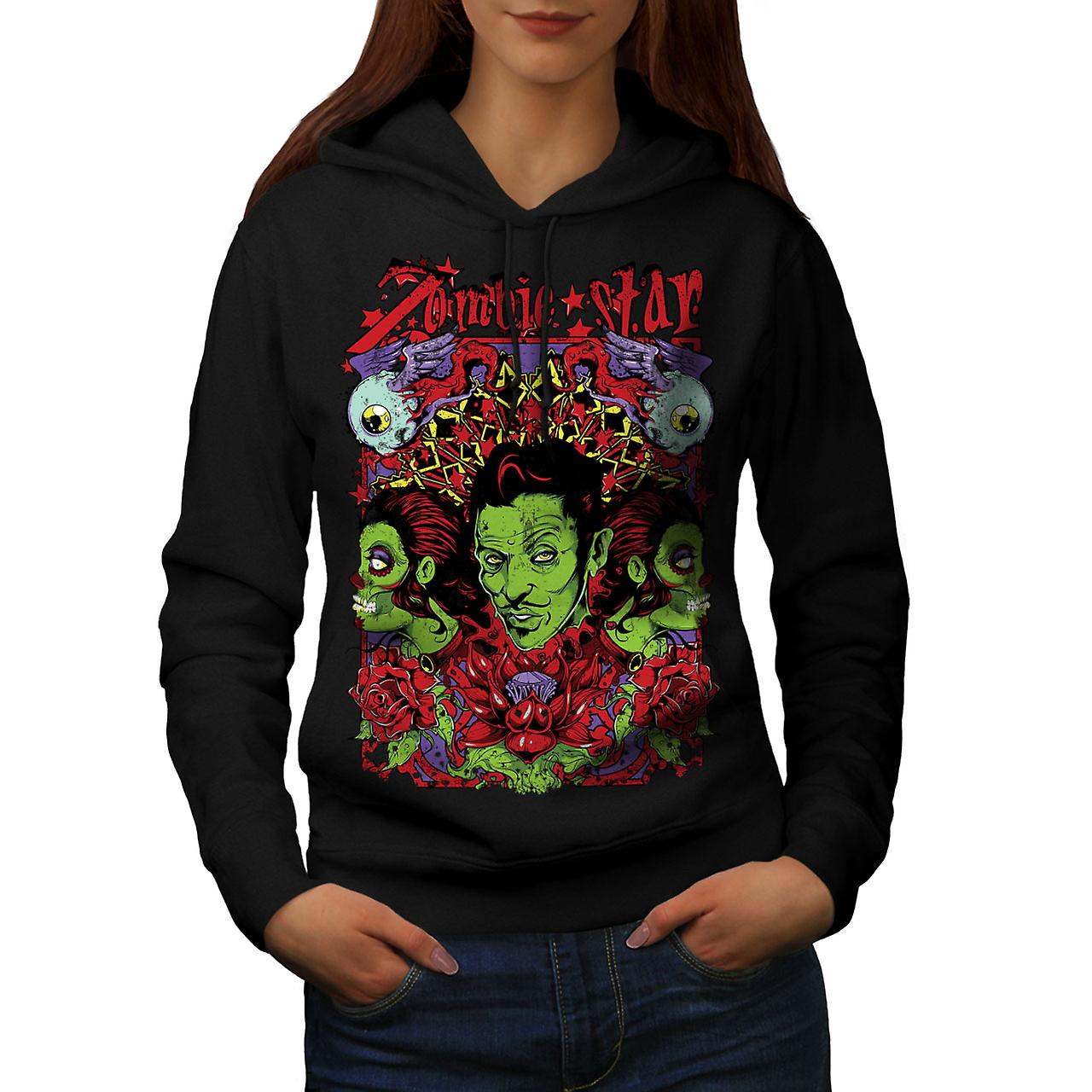 Star Funky Rose Zombie Women Black Hoodie | Wellcoda