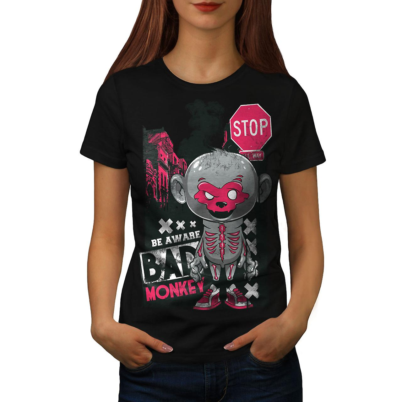 Bad Monkey Stop Zombie Women Black T-shirt | Wellcoda