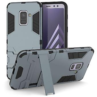 Samsung Galaxy A8 Plus (2018) Armour Kickstand Case - staal blauw