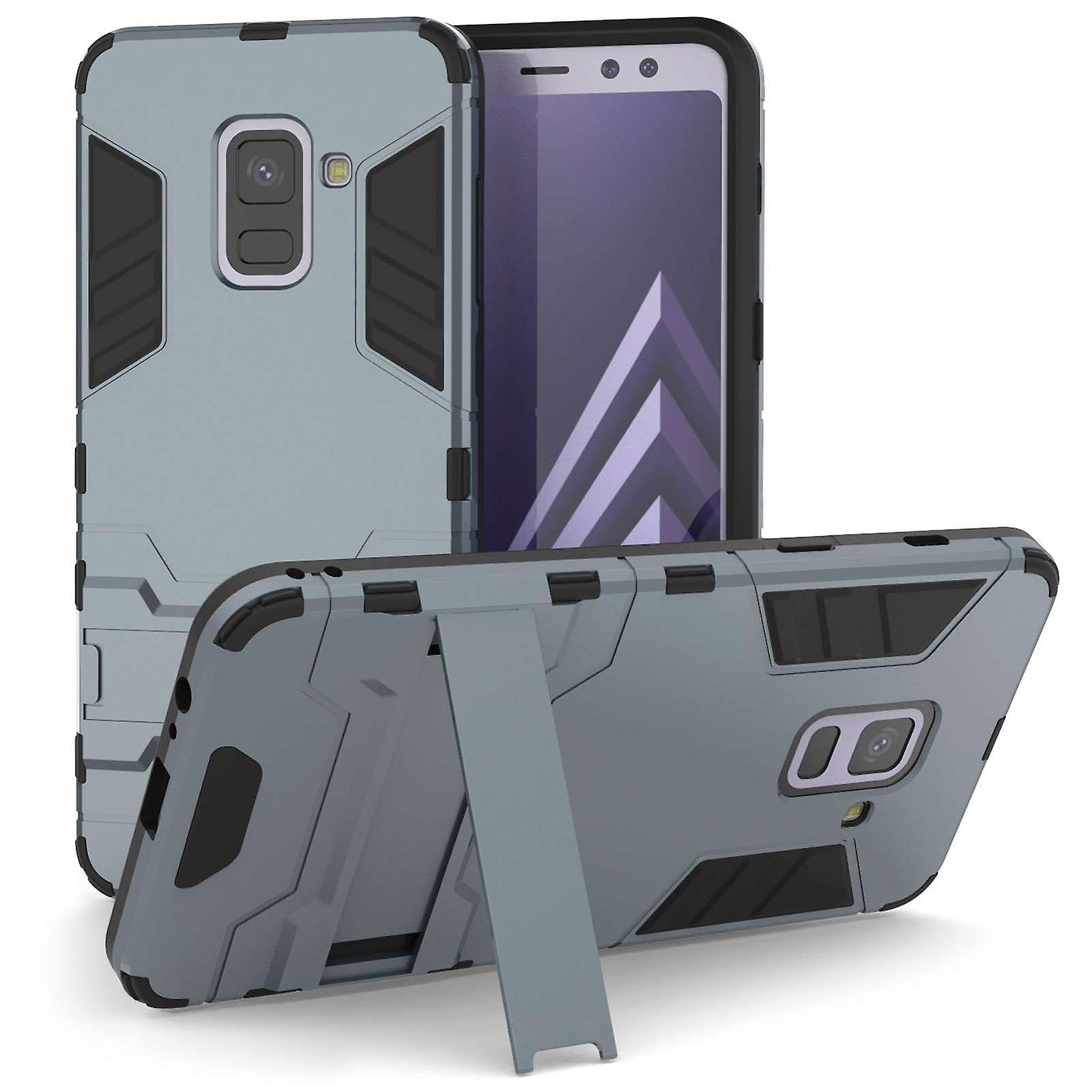 Samsung Galaxy A8 Plus (2018) Armour Kickstand Case - Steel Blue