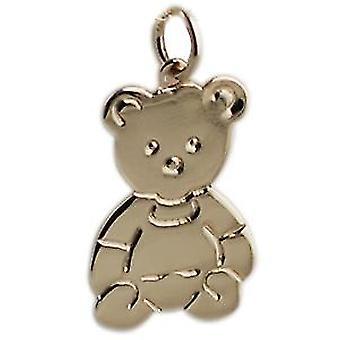 9ct Gold 21x19mm flat Teddy Bear Pendant