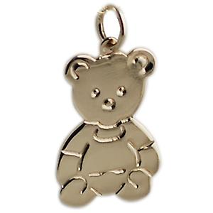 9ct Gold 21x19mm Flat Teddy Bear pendant