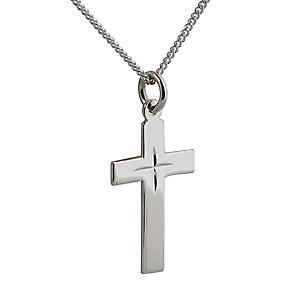Silver 24x14mm star cut flat Latin Cross with Curb chain