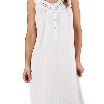 Slenderella ND1211L Frauen Dobby Dot weiß 100 % Baumwolle Nacht Kleid Loungewear ärmellose Nachthemd