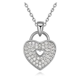 Womens 'Locked' Love Heart Necklace Pendant