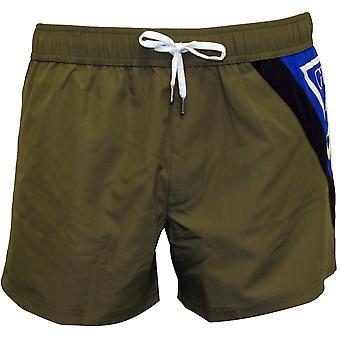Guess Classic Logo Swim Shorts, Khaki/blue