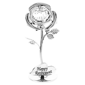 Happy Retirement Silver Plated Rose Ornament with Clear Swarovski Crystal Glass