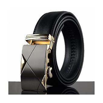 Gürtel Mann verstellbar schwarz Echtleder und Schnalle in Stahl schwarz und gold