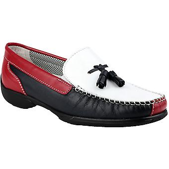 Cotswold Ladies Biddlestone Slip On Leather Moccasin Shoe Red