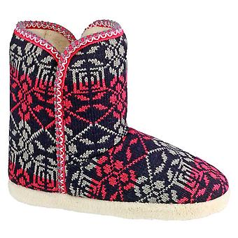 Divaz Ladies Oslo Slip On Patterned Snuggly Bootie Slipper Red