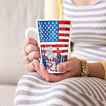 Flag America New York USA NEW White Tea Coffee Ceramic Latte Mug 17 oz | Wellcoda
