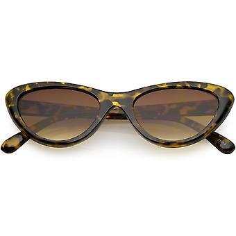 Small Retro Cat Eye Sunglasses Neutral Colored Lens 49mm