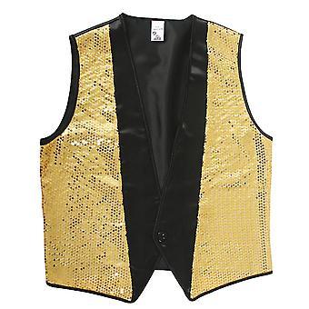 80-х годов костюмы мужские золотые жилет диско Модератор Mr костюм