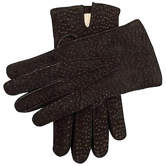 Dents Exton Cashmere Lined Carpincho Leather Gloves - Dark Brown