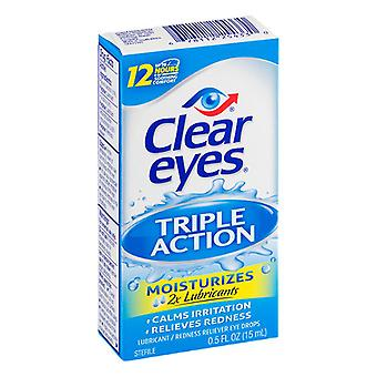Clear Eyes tripla azione Relief Eye Drops, 0,5 Oz