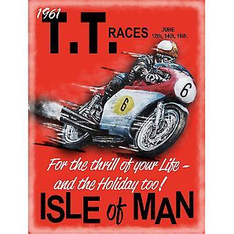 Isle Of Man Tt 1961 Medium Size Metal Sign 300Mm X 200Mm