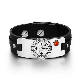 Erzengel Thavael SIGILL Zauberkräften Amulett Tag roter Jaspis Edelstein aus schwarzem Lederarmband