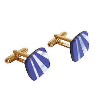 Gemshine - men - cuff links - gold plated - mother of Pearl - lapis lazuli - white - blue - 1.6 cm