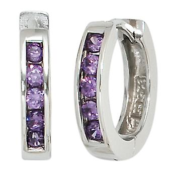 Rhodium-plated hoop earrings approximately 925 sterling silver with 10 purple cubic zirconia
