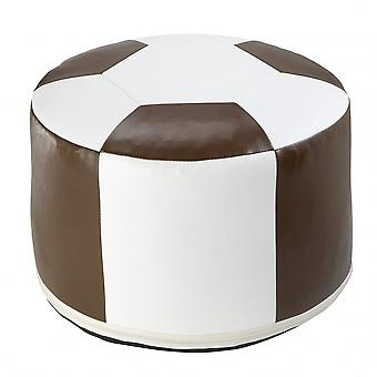 Fußball-Sitzkissen Kunstleder weiss/braun-6300312 Ø 50/34 cm