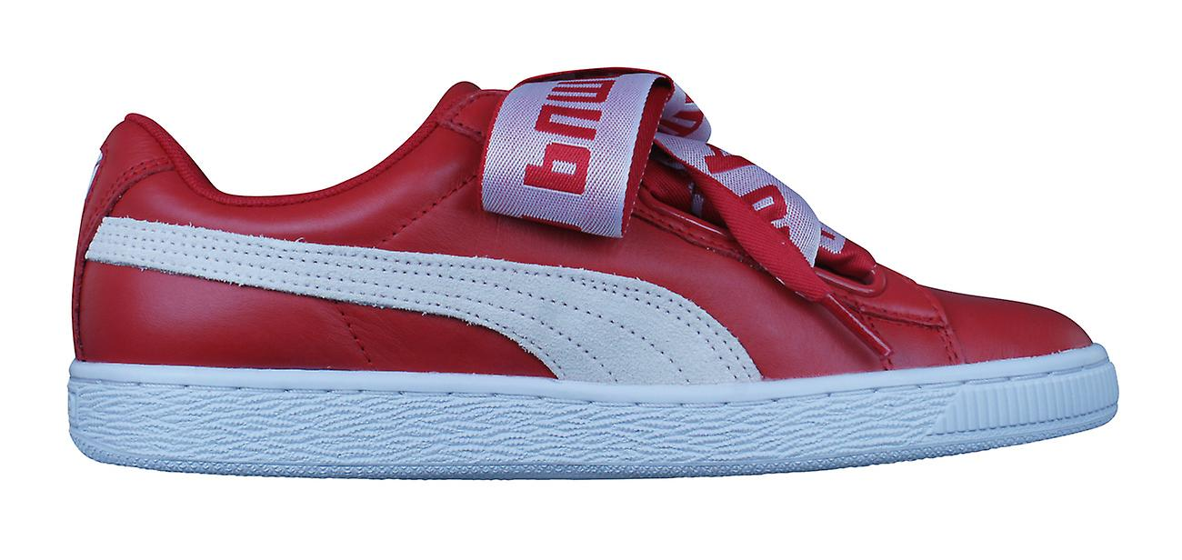 premium selection 6e8cc 491b2 Puma Basket Heart DE Womens Leather Trainers / Shoes - Red
