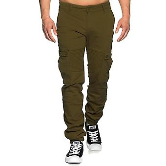 Tazzio fashion men's cargo Chinohose biker-style khaki