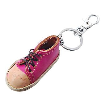 Leather keychain pink sneaker for mini click buttons