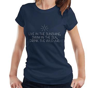 Leben Sie In der Sonne Schwimmen im Meer Getränk wilde Luft Waldo Kostenvoranschlag Damen T-Shirt