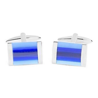 David Van Hagen Shiny Rectangle Tonal Cat Eye Stripes Cufflinks - Silver/Blue/Light Blue