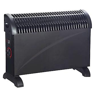 2000w Black Convector Heater With Turbo Boost Portable Electric Thermostat