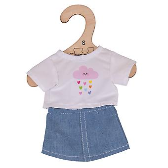 Bigjigs Toys White T-Shirt & Denim Skirt (28cm) Soft Ragdoll Outfit