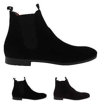 Mens H By Hudson Atherstone Waxed Suede Work Office Smart Ankle Boots