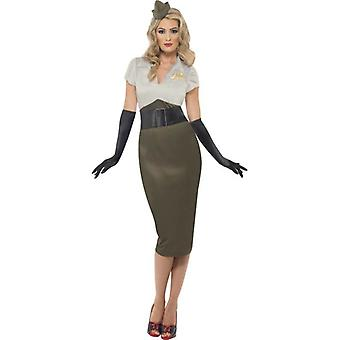 WW2 Army Pin Up Spice Darling Costume, UK Dress 12-14