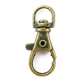 5 x Antique Bronze Plated Metal Alloy Round Keyring Clasps 13 x 35mm HA02058