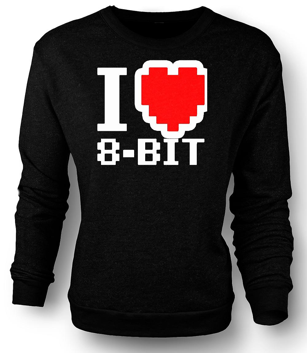 Mens Sweatshirt I love 8 Bit - Retro - Computer