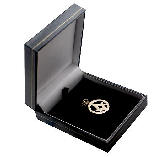 9ct Gold 21mm Masonic hand engraved pendant