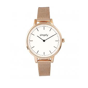 Simplify The 5800 Mesh Bracelet Watch - Rose Gold/White