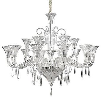 Ideale Lux - Santa Clear glas en chroom achttien lichte kroonluchter IDL142227