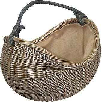 Antique Wash Rope Handled Wicker Carrying Basket
