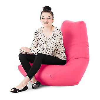 Pink Faux Leather Gaming Highback Bean Bag Lounger Chair