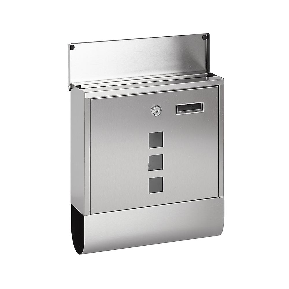 Lockable Wall Mounted Mail/ Letter/ Post Box - Newspaper Slot + 2 Keys (Silver)