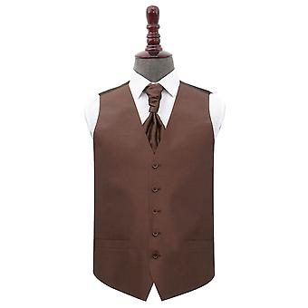 Chocolate Brown Shantung Wedding Waistcoat & Cravat Set