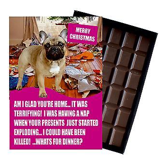 Franska Bulldog rolig julklapp för hundälskare boxed choklad gratulationskort Xmas present