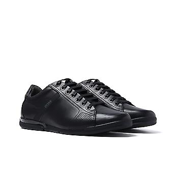 BOSS Saturn Lowp Black Leather Trainers