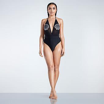 Golddigga Womens Shell Badge Swimsuit Beach Mesh