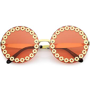 Oversize Vintage Fashion Metal Floral Border Cut Out Round Sunglasses 60mm