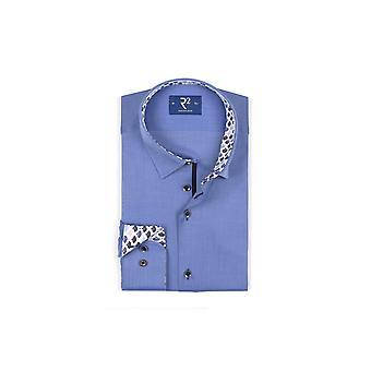 R2 Long Sleeved Hidden Button Down Shirt Blue