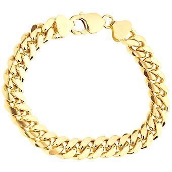 Sterling 925 silver tank chain bracelet - MIAMI 10mm gold